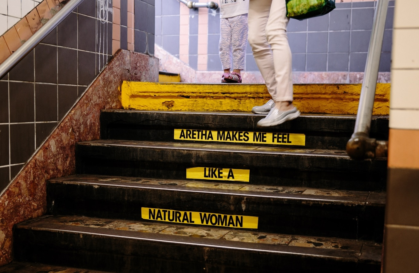 A tribute to US singer Aretha Franklin in the Franklin station in Manhattan, New York, New York, USA