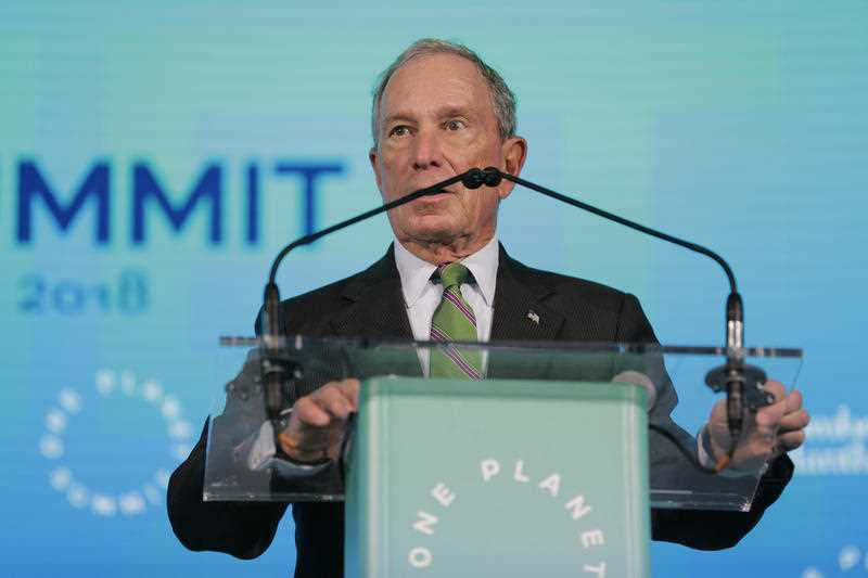 Michael Bloomberg, United Nations Special Envoy for Climate Action, speaks during the One Planet Summit in New York.