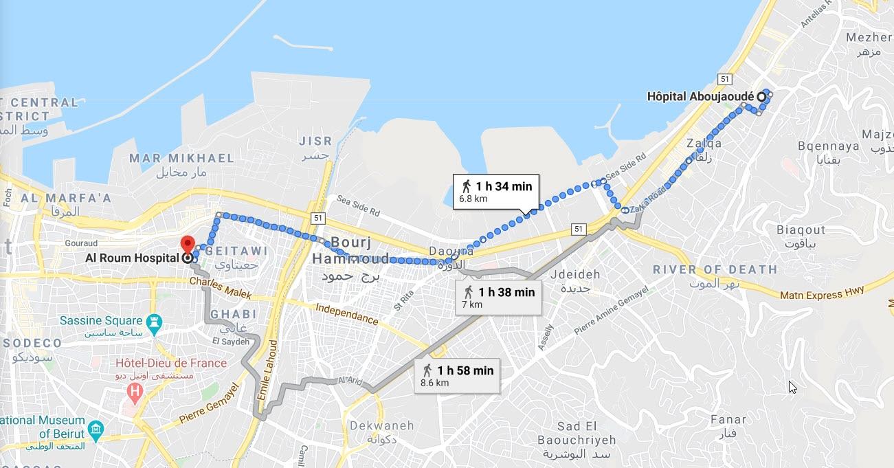 Google map showing Pamela's route.