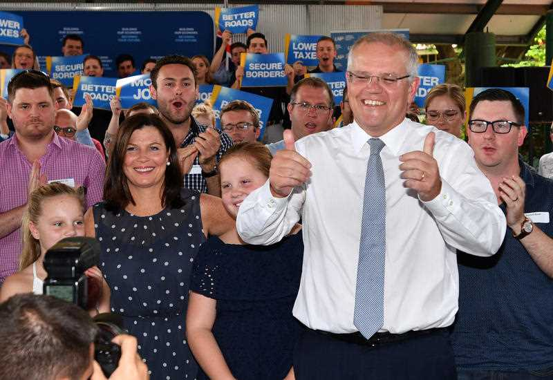 Prime Minister Scott Morrison and wife Jenny after the Liberal National Party campaign rally in Brisbane.