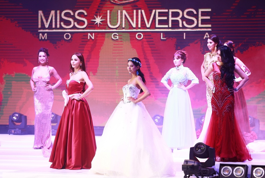 October 17, 2018: Transgender make-up artist Solongo Batsukh (2nd from left) competes in the Miss Universe Mongolia competition in Ulaanbaatar,