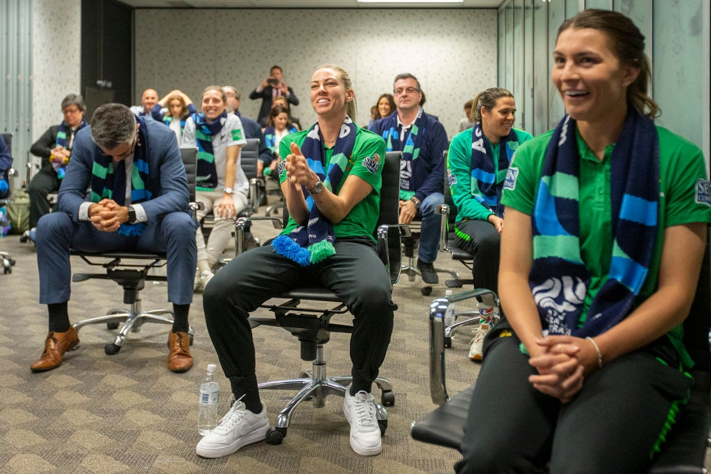 Matildas Alanna Kennedy puts her hands together as FIFA announce the hosts to the 2023 FIFA Women's World Cup at the FFA Offices.