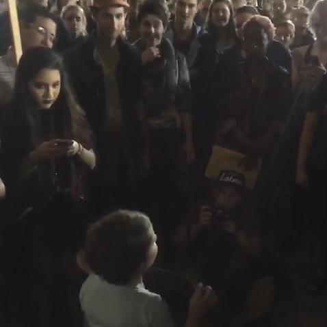 The girl giving the speech