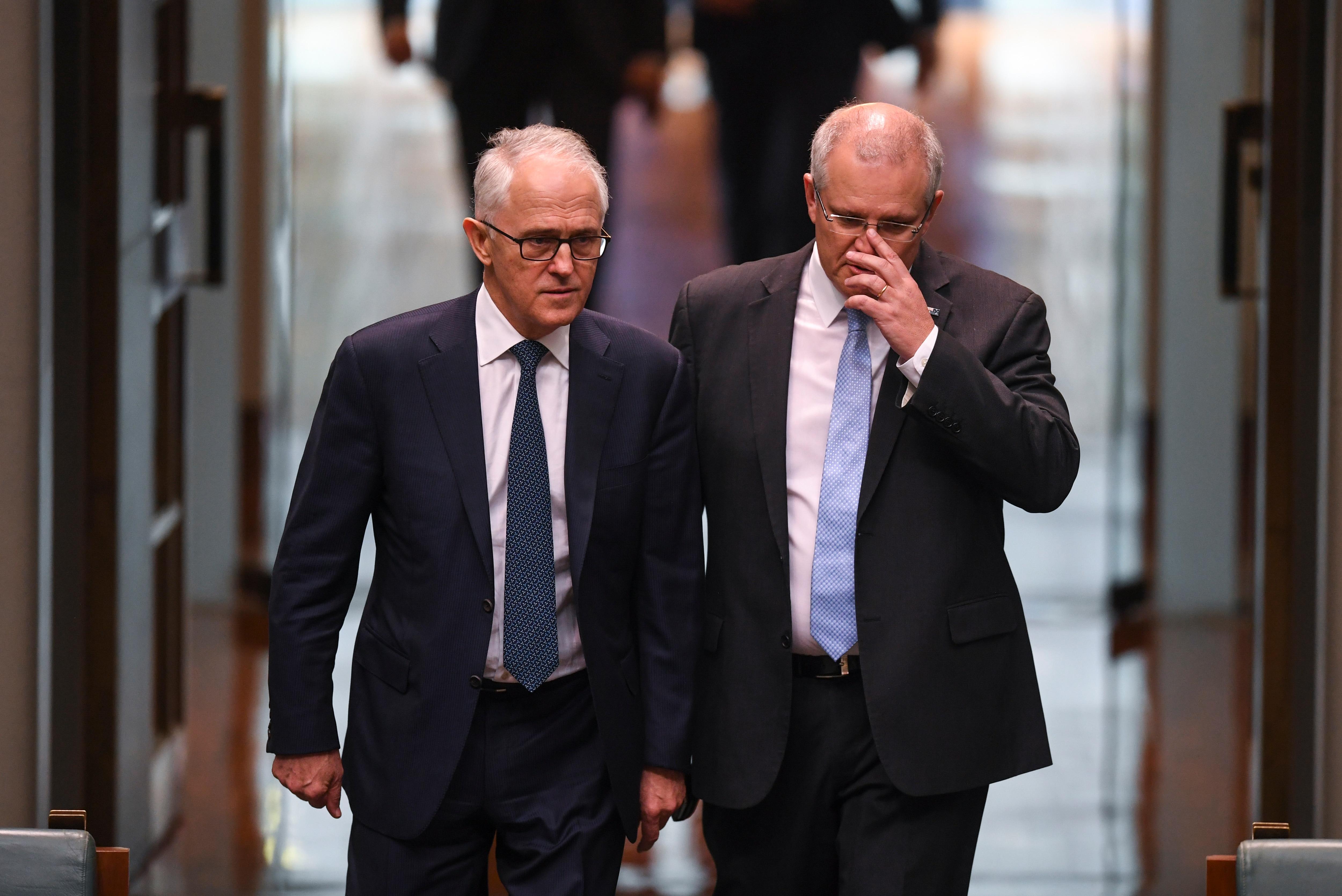 Then-Australian Prime Minister Malcolm Turnbull (left) and then-Australian Treasurer Scott Morrison in 2018, before Mr Turnbull was rolled.