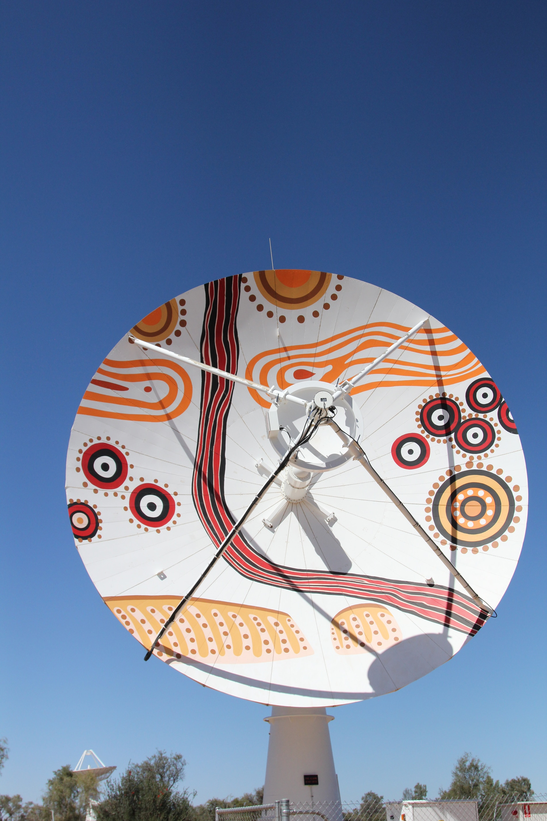 An antenna currently on the property painted by local Arrernte artist Roseanne Kemarre Ellis.