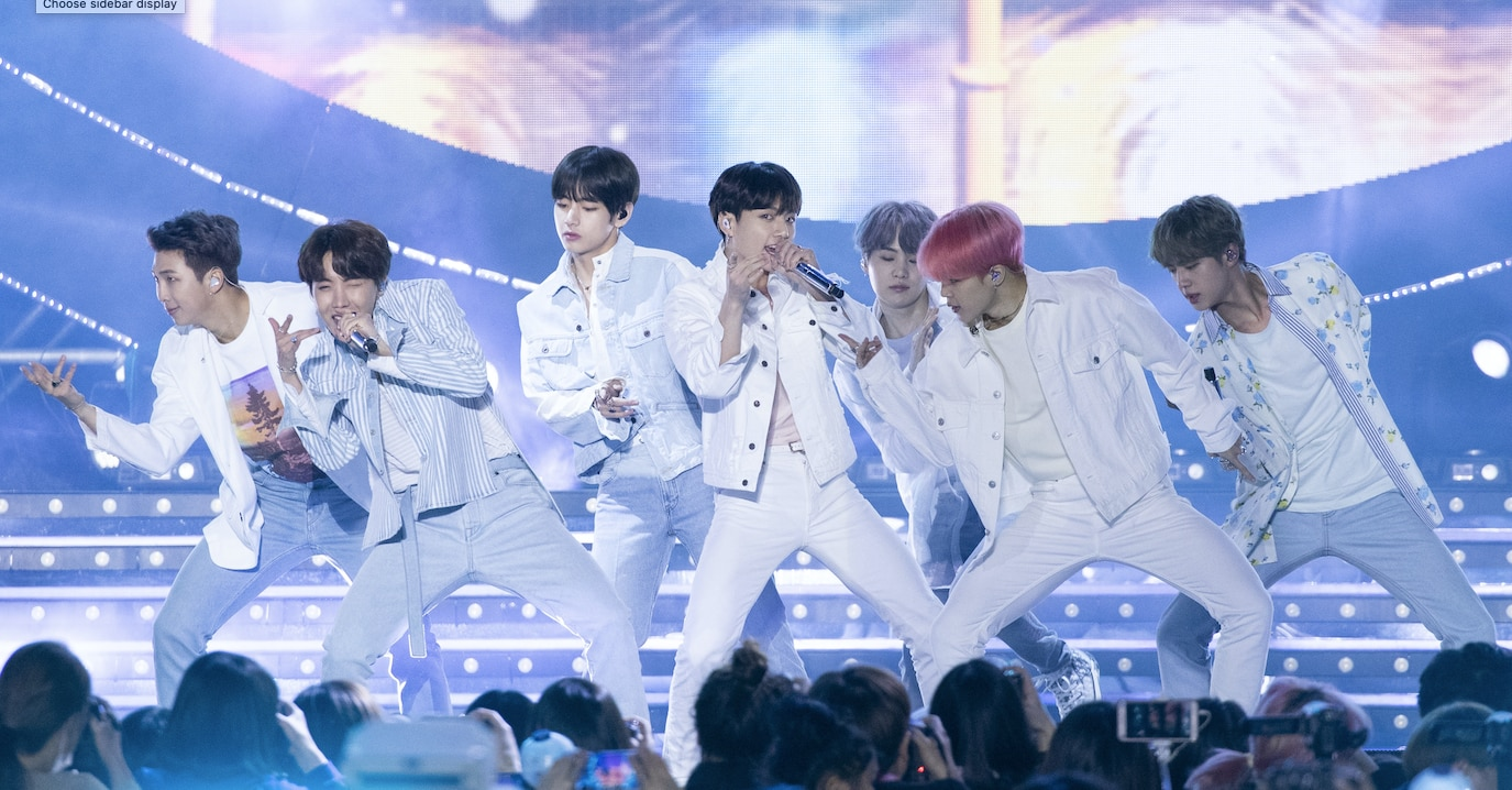 K-pop band BTS performs in 2019.