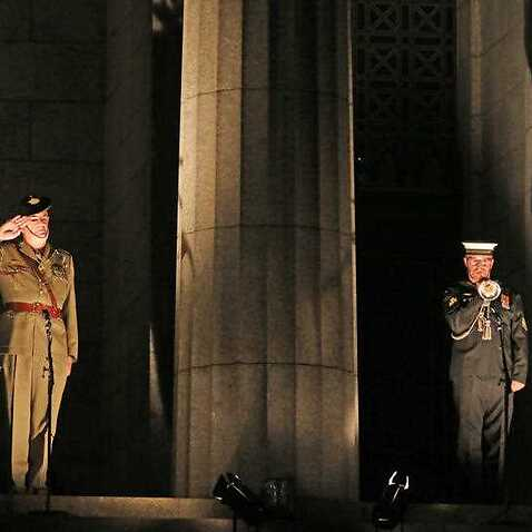 A bugler plays during the Anzac Day dawn service at the Shrine of Remembrance in Melbourne, Thursday, April 25, 2019