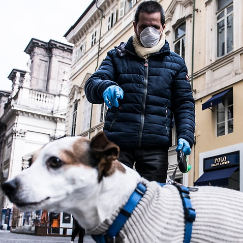 A man and his dog in Turin