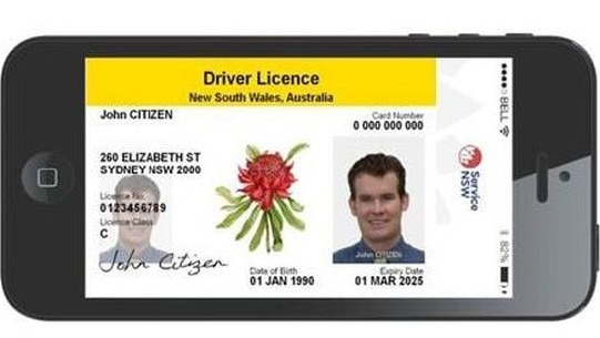 A mock-up of NSW digital drivers licence.
