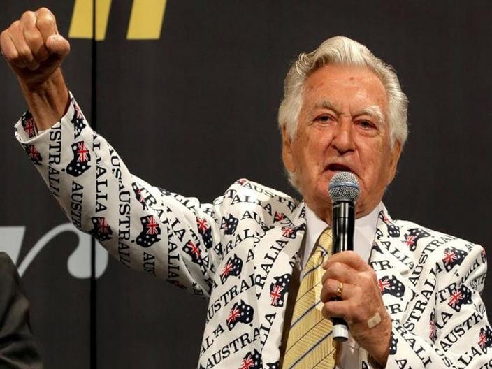 Bob Hawke with the famous Australia jacket