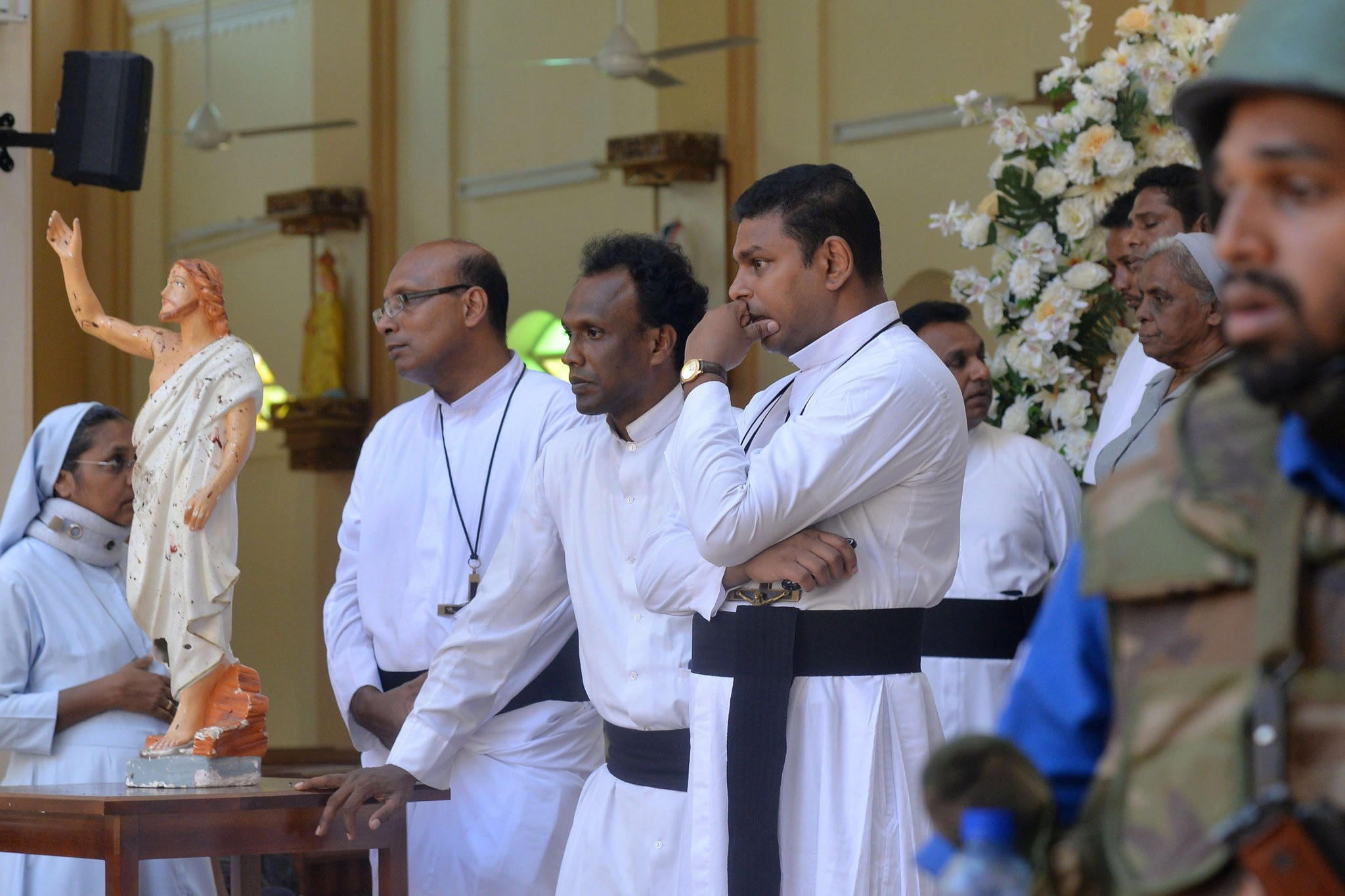 Catholic priests and nuns in Sri Lanka after the attack.