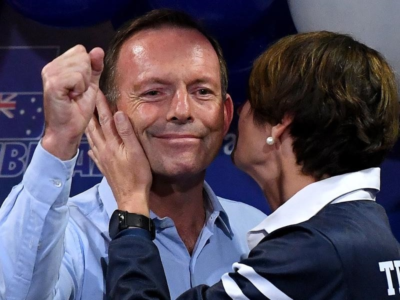 Tony Abbott concedes the seat of Warringah alongside wife Margie.
