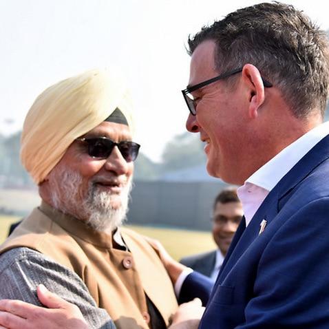 Daniel Andrews with Bishan Singh Bedi