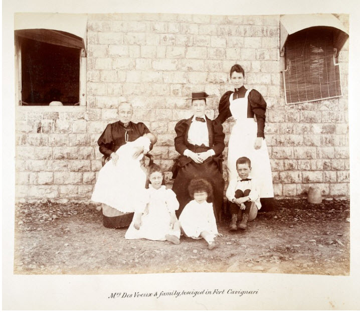 Mrs Eleanor Des Voeux, her children and her nurse Teresa Mc Grath at Fort Gulistan