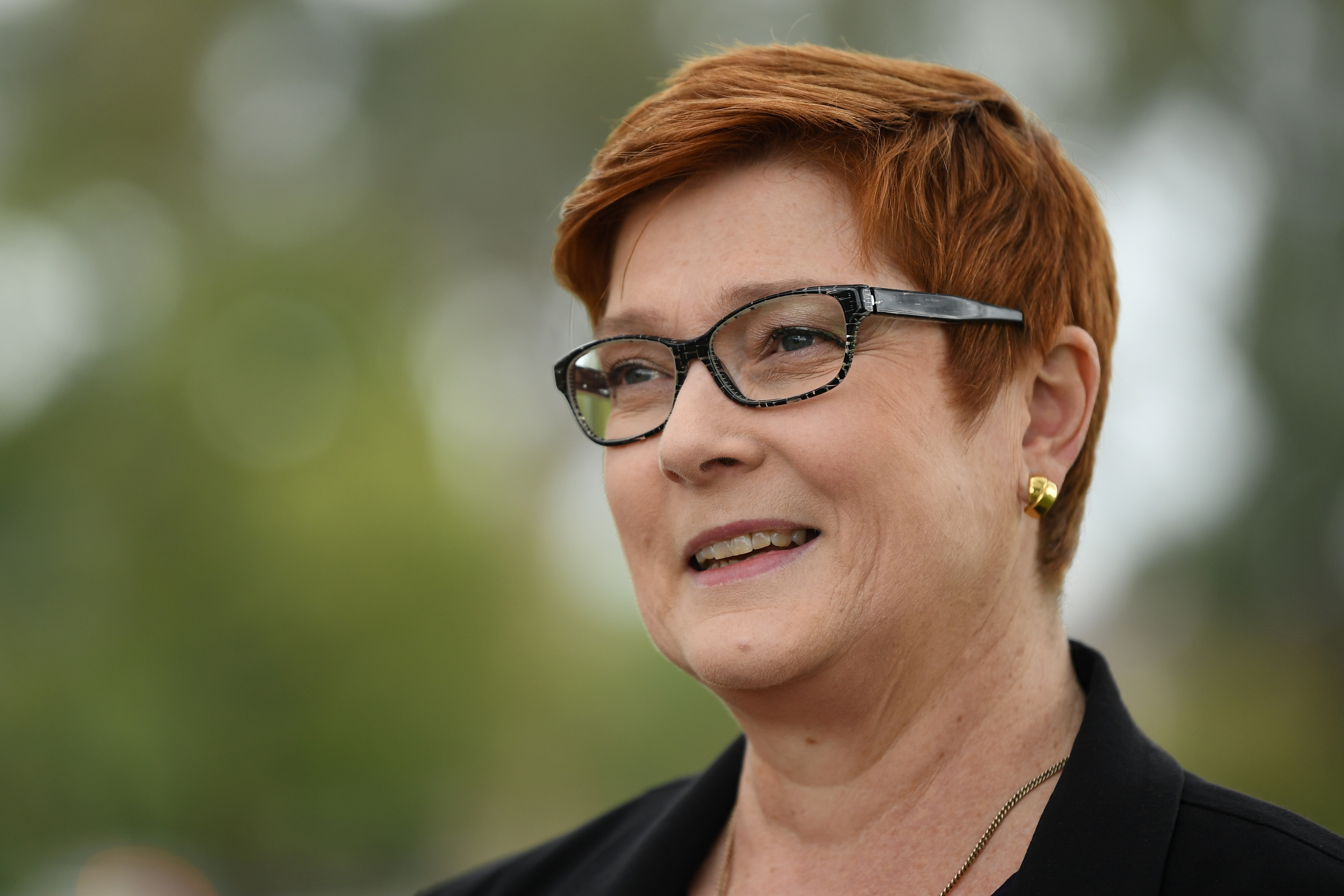 Foreign Affairs Minister Marise Payne speaks to the media.