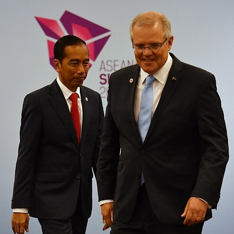 Australia's Prime Minister Scott Morrison and Indonesia's President Joko Widodo at a bilateral meeting during the 2018 ASEAN Summit in Singapore.