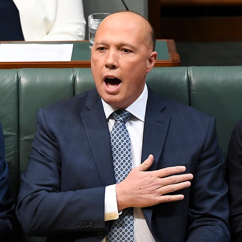 Australian Home Affairs Minister Peter Dutton reacts during House of Representatives Question Time at Parliament House in Canberra, Thursday, 25 July, 2019. (AAP Image/Lukas Coch)