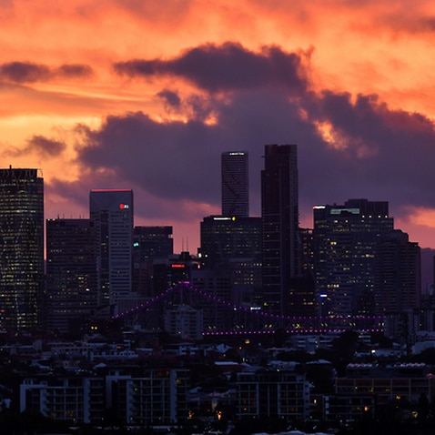 The Brisbane skyline at sunset