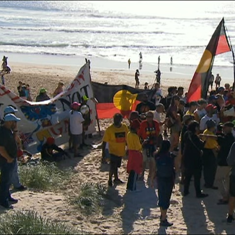 Indigenous activists took their land rights protest to the Sunrise broadcast from the Gold Coast