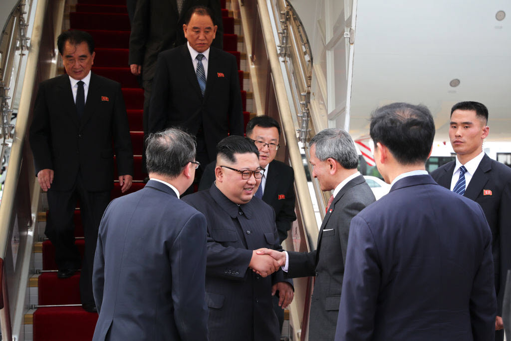 North Korean leader Kim Jong-un welcomed by Singapore's Foreign Minister Vivian Balakrishnan at Changi Airport in Singapore