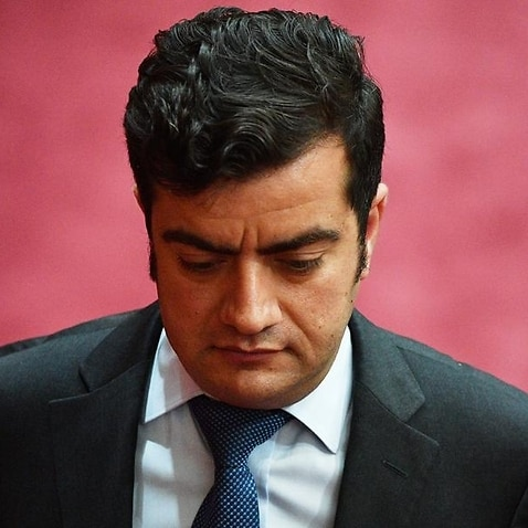 Sam Dastyari leaves after Question Time