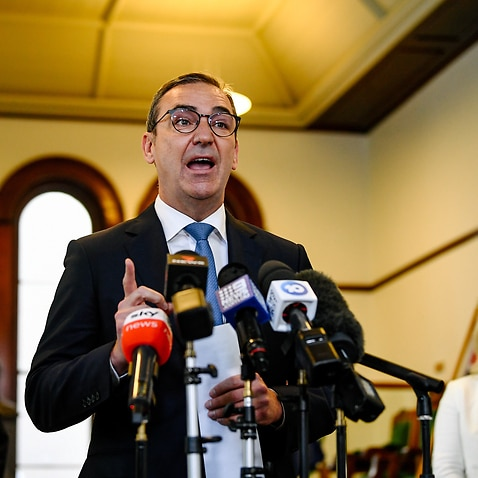 South Australia Premier Steven Marshall speaks to the media during a press conference in Adelaide.