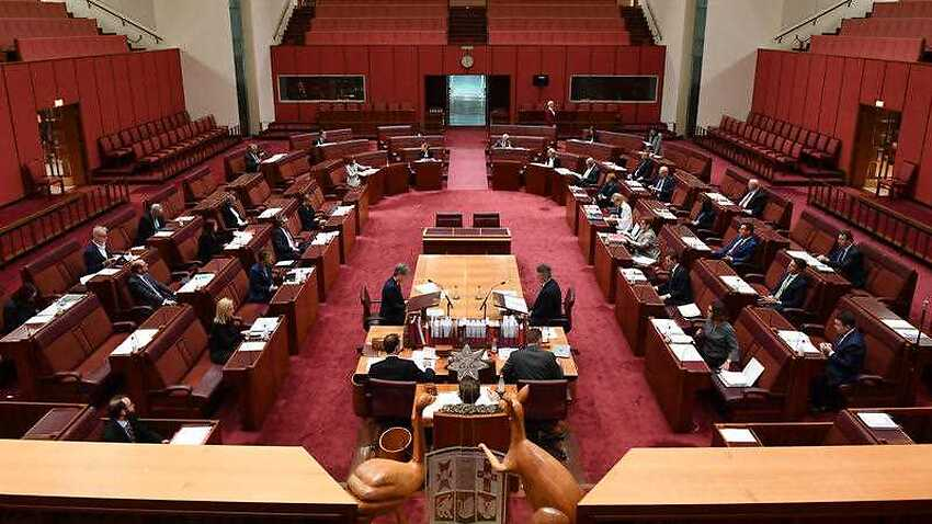The Senate meets during a reduce sitting of Parliament amid the coronavirus pandemic.