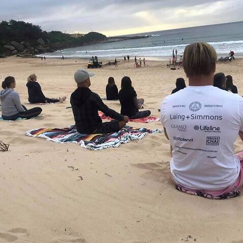 People attending a free meditation session run by the Making Maditation Manstream