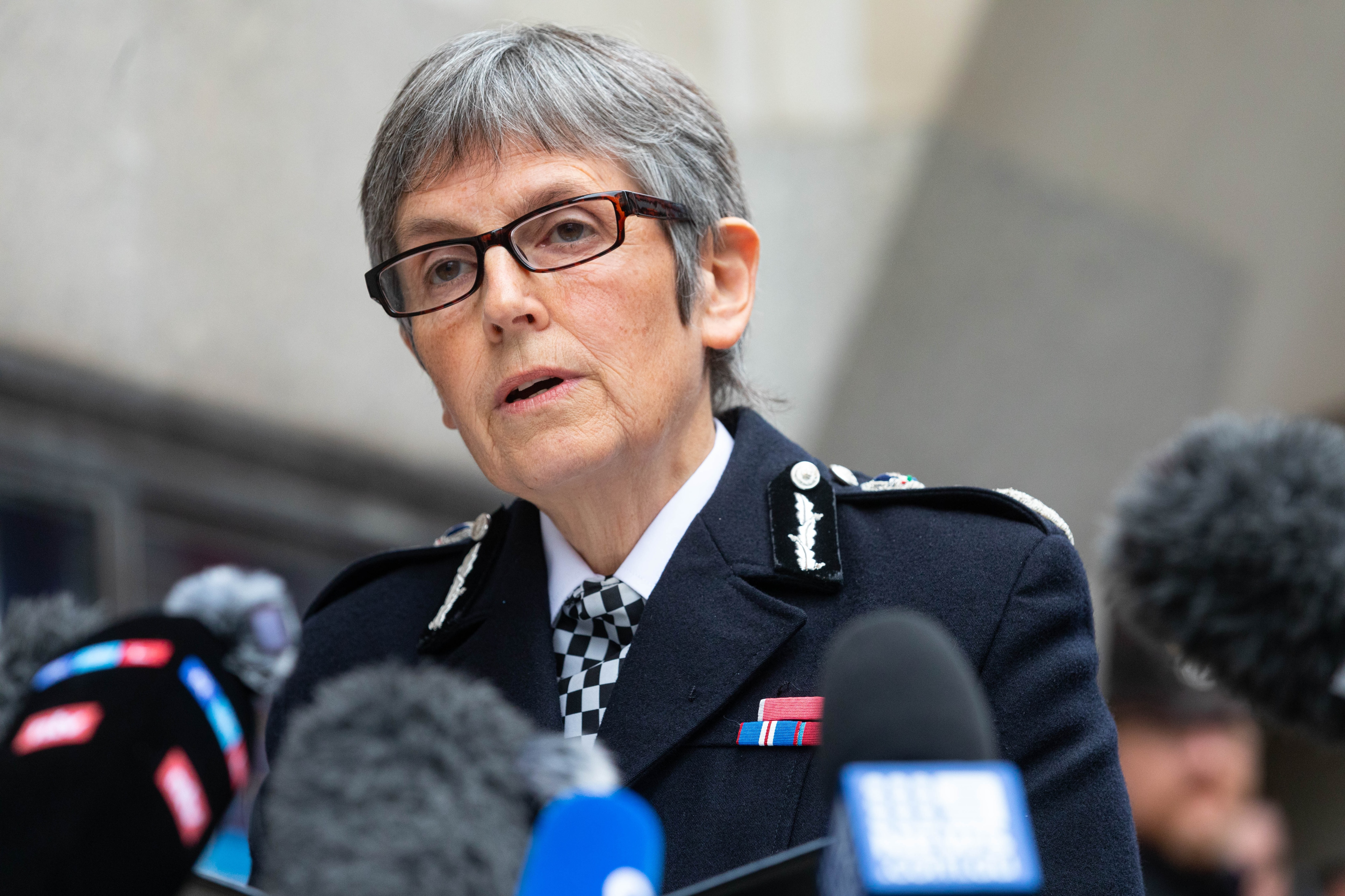 Metropolitan Police Commissioner Dame Cressida Dick makes a statement to the media outside the Old Bailey in London.