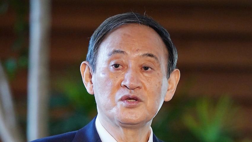Japan's Prime Minister Yoshihide Suga speaks to media at Prime Minister's Office in Tokyo on Nov.12, 2020.