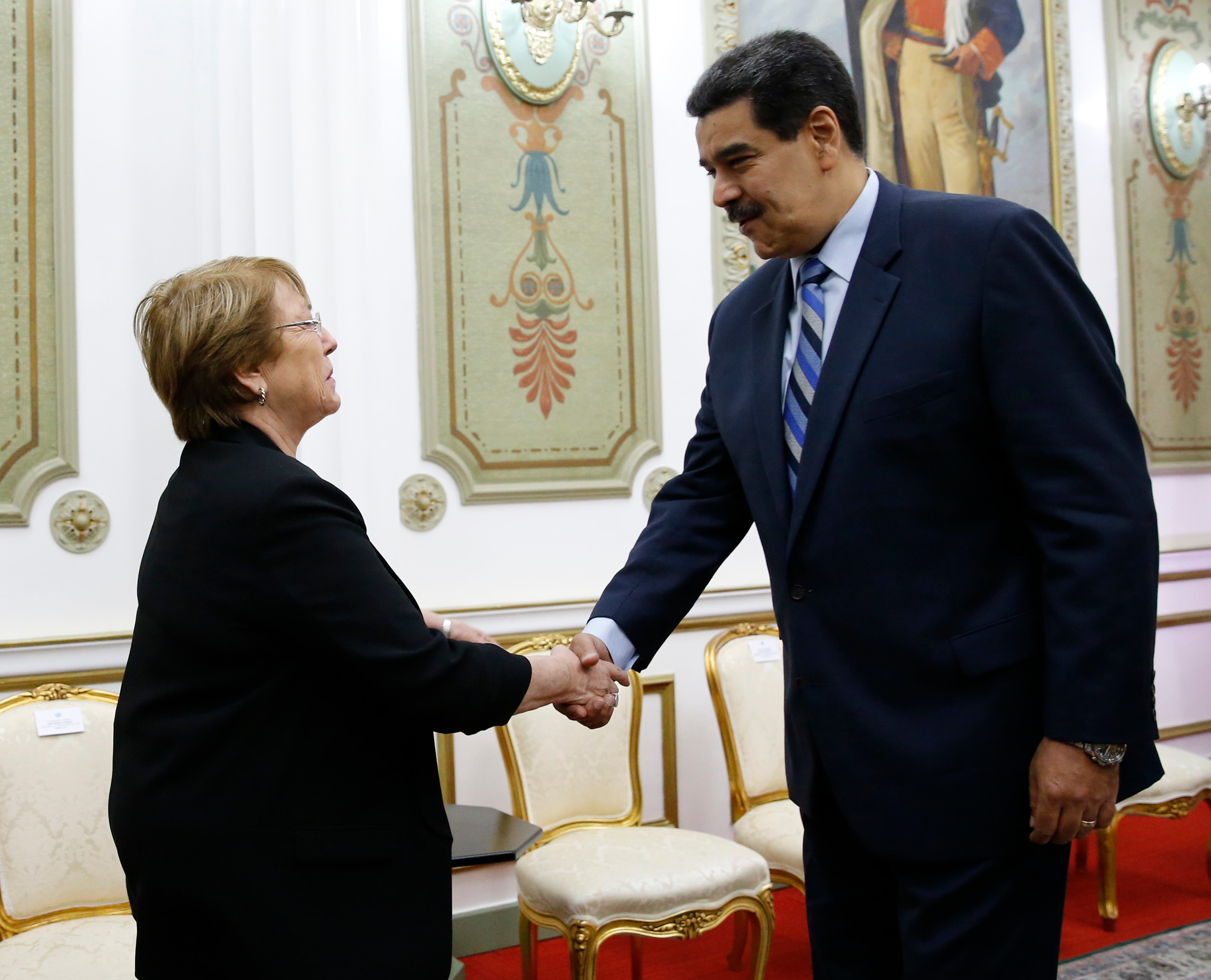 U.N. High Commissioner for Human Rights Michelle Bachelet greeted by Venezuela's President Nicolas Maduro, in Caracas, Venezuela.