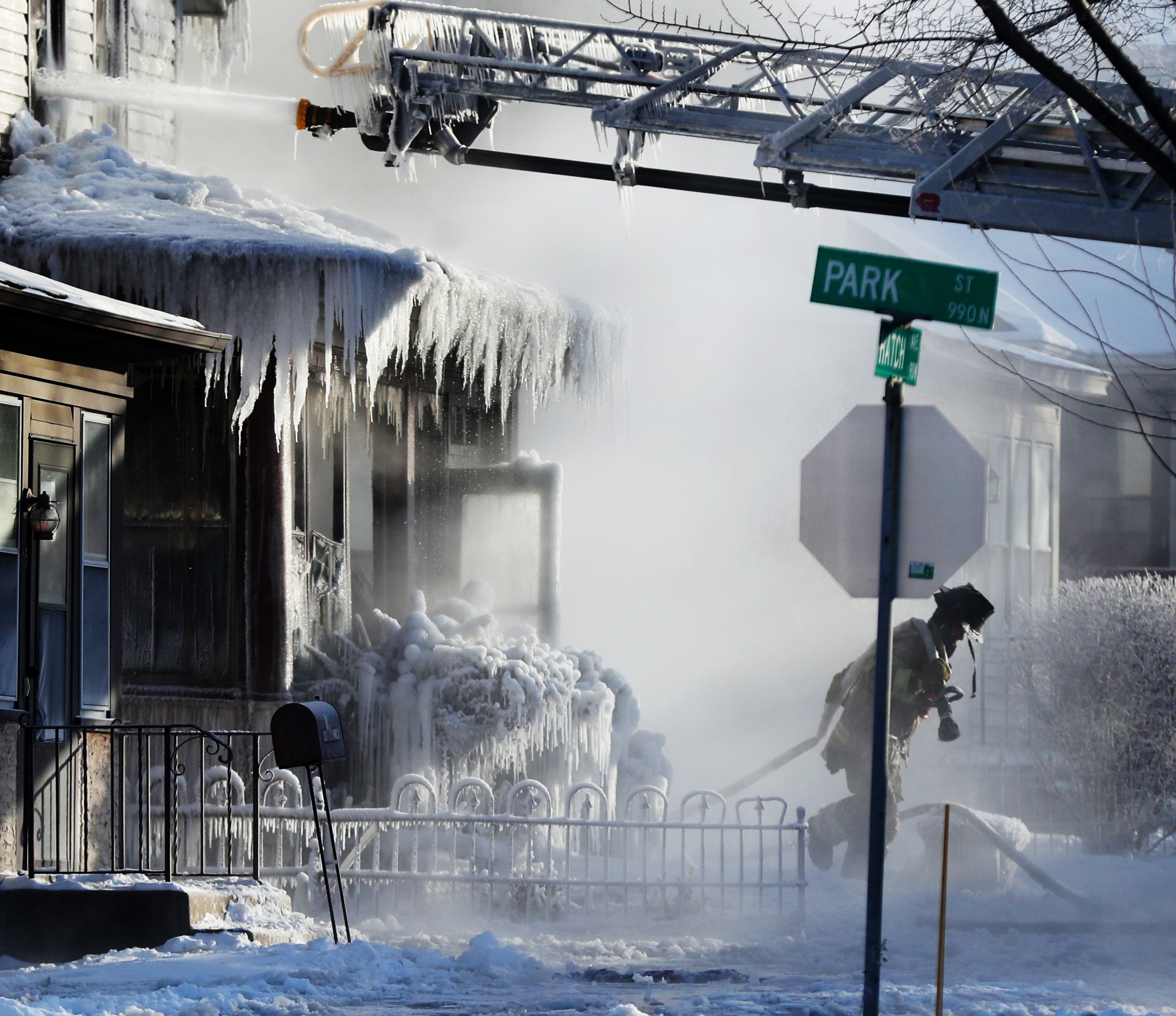 St. Paul firefighters at the scene of a house fire at Hatch Ave. and Park St. Wednesday, January 30, 2019, In St. Paul, Minn. Photo by David Joles/Minneapolis Star Tribune/TNS/ABACAPRESS.COM.