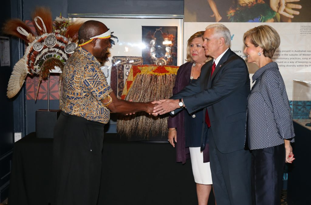 Mike Pence and his wife Karen, with Julie Bishop, right, are welcomed to the Australian Museum in Sydney in April 2017.