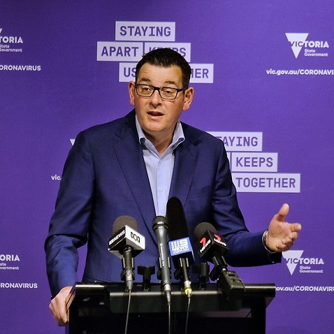 Victorian Premier Daniel Andrews speaks to the media during a press conference at Treasury Theatre in Melbourne