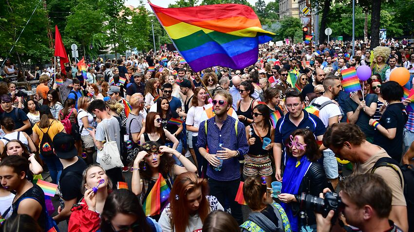 People take part at the lesbian, gay, bisexual and transgender Pride Parade in Budapest, Hungary last year.