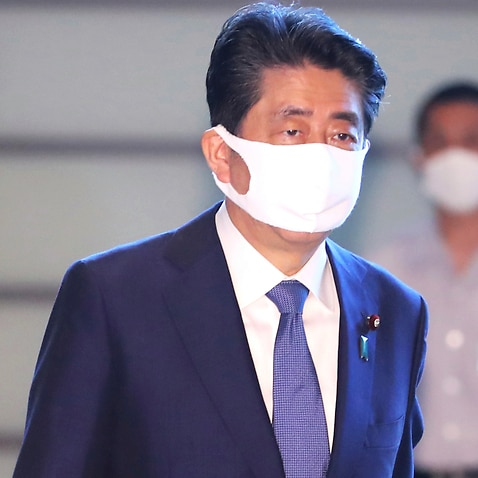 Japanese Prime Minister Shinzo Abe arrives at his office on Friday.