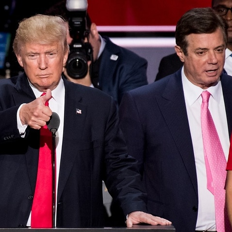 Then GOP nominee Donald Trump, flanked from left by then campaign manager Paul Manafort, and daughter Ivanka Trump