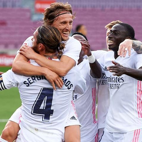 Sergio Ramos celebrates a goal with his Real Madrid teammates