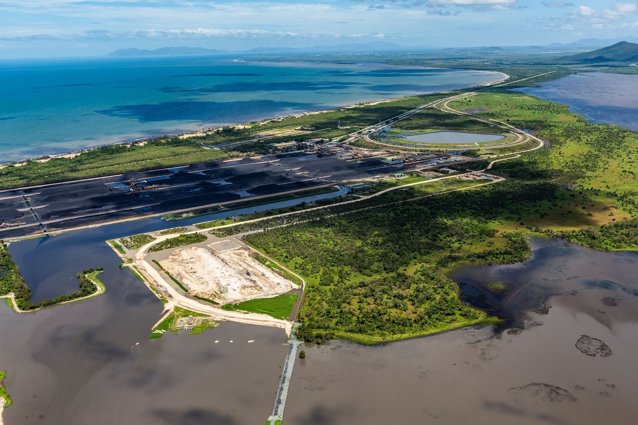 The Adani Abbot Point coal terminal and the Caley Valley Wetlands on February 9.