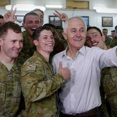 Prime Minister Malcolm Turnbull meets with Australian troops at Camp Taji during a visit to Iraq, Sunday, April 23, 2017.