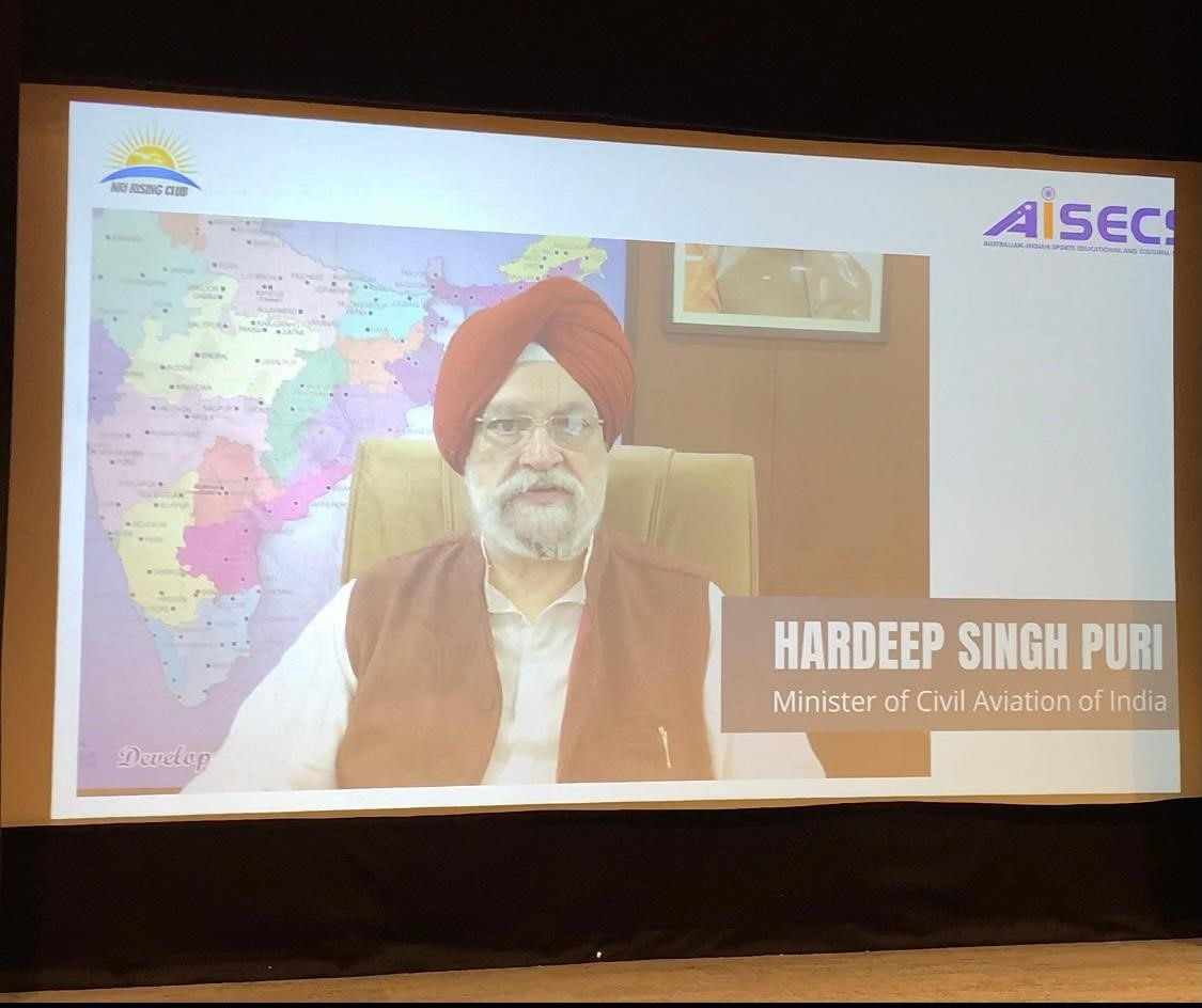Hardeep Singh Puri, India's Civil Aviation Minister, sending a special video message on the occasion