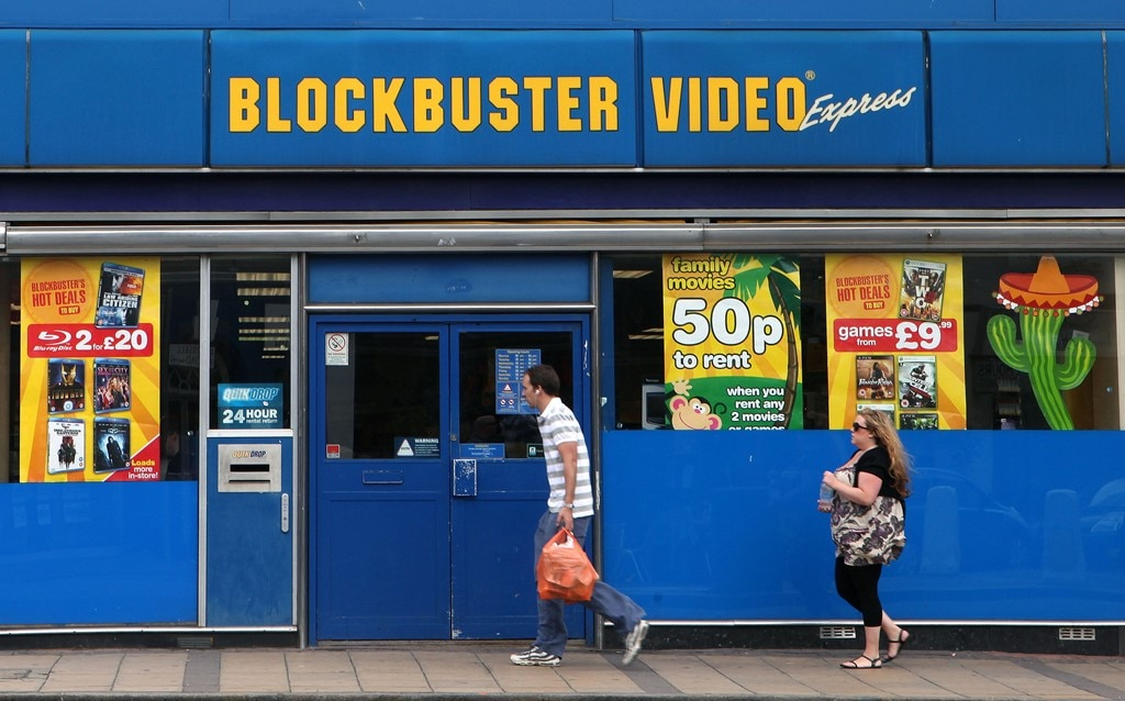 Blockbuster video store, in London.