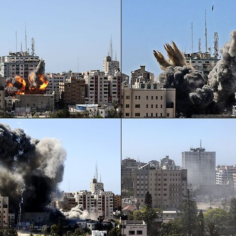 Photos show the Jala Tower, housing international media outlets in Gaza city, being hit by an Israeli air strike and collapsing on 15 May, 2021.