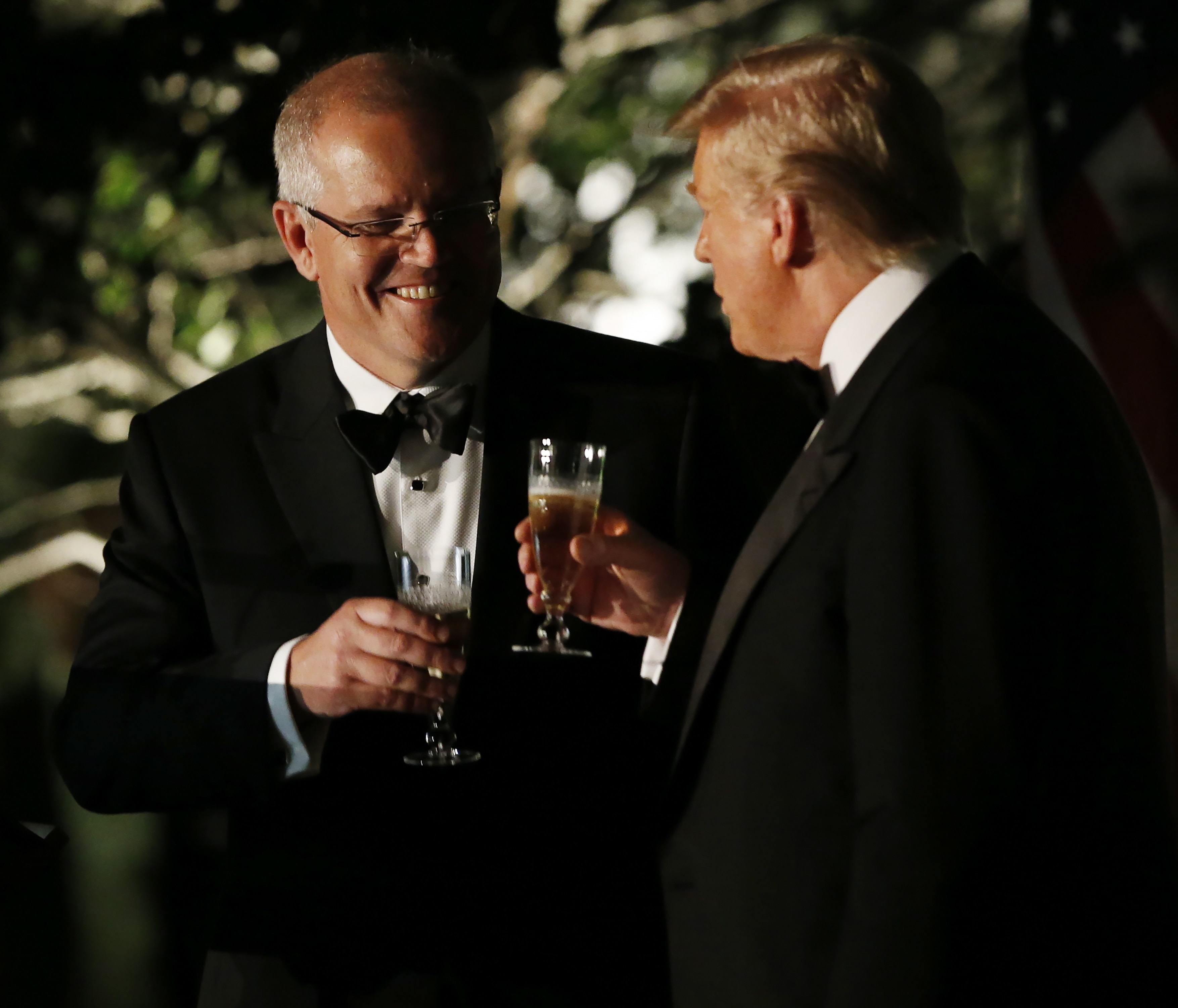 US President Donald Trump and Prime Minister Scott Morrison at the White House for a state dinner.