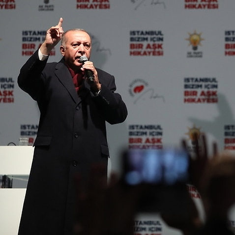 Turkish President Recep Tayyip Erdogan speaks during his Justice and Development Party (AK Party) rally in Istanbul