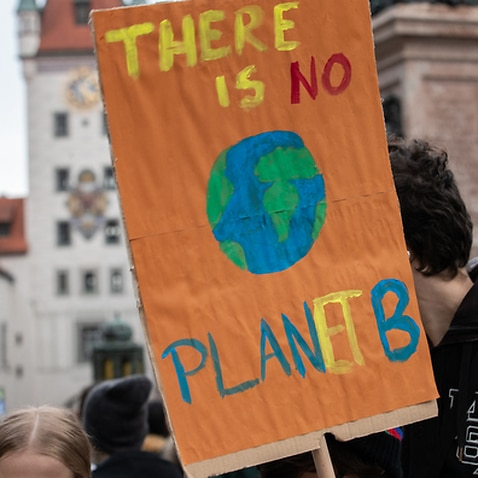 A placard at a cllimate change protest in Munich Germany