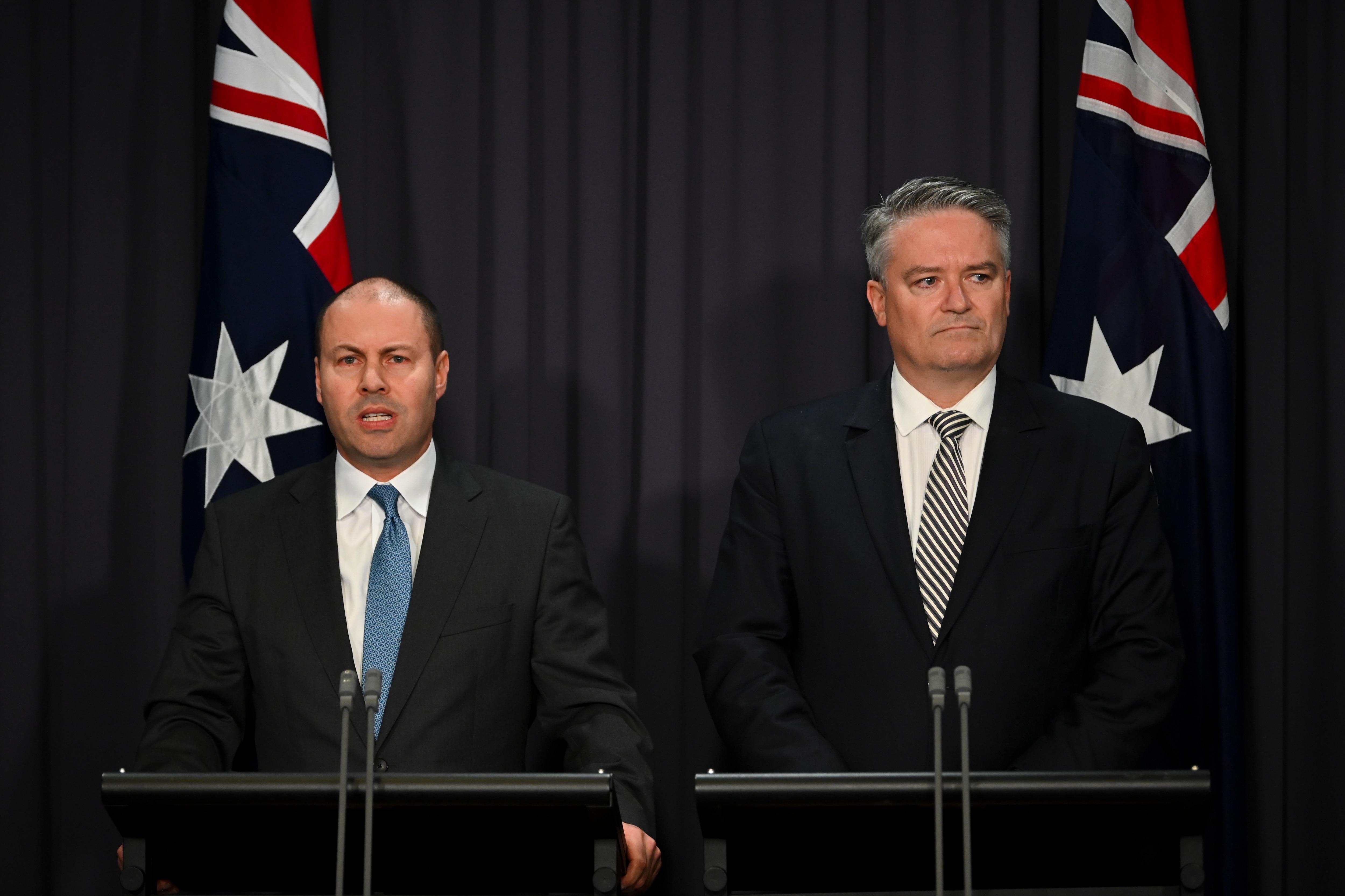 Treasurer Josh Frydenberg (left) and Finance Minister Mathias Cormann.