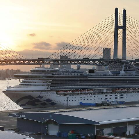 The coronavirus-hit Diamond Princess cruise ship docked in Yokohama, Japan.