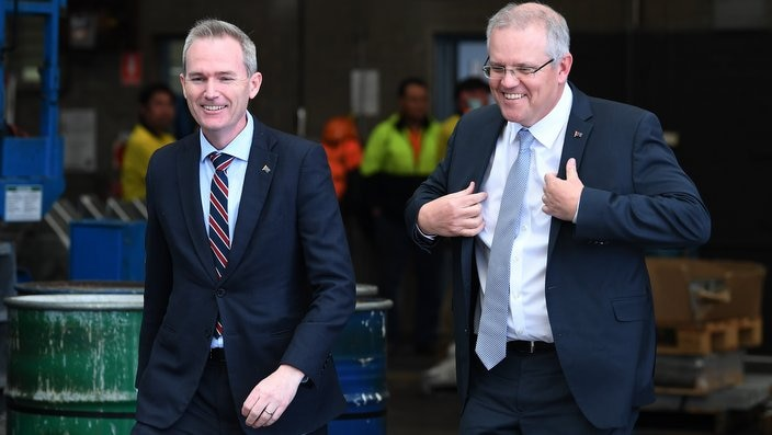 Prime Minister Scott Morrison, right, with David Coleman in Sydney.