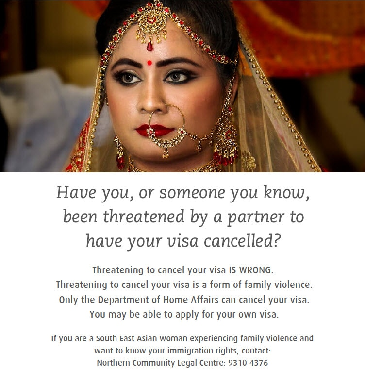 Poster providing contacts for legal help and immigration advice to South East Asian women